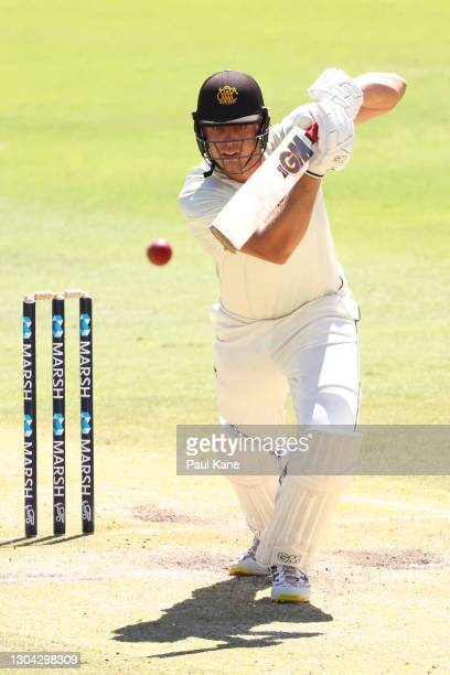 Cameron Green of Western Australia bats during day three of the Sheffield Shield match between Western Australia and South Australia at the WACA on...