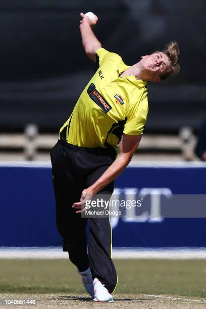 Cameron Green of Western Australia bowls during the JLT One Day Cup between Victoria and Western Australia at Junction Oval on September 26 2018 in...