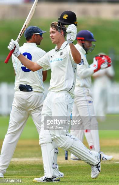 Cameron Green of Western Australia celebrates bringing up his century during day three of the Sheffield Shield match between Western Australia and...