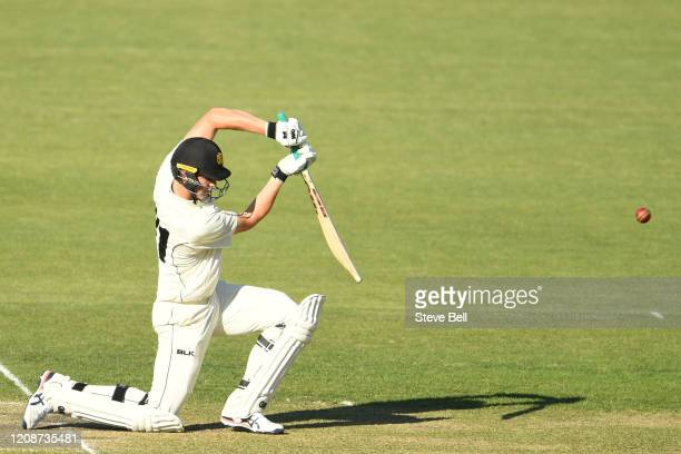 Cameron Green of Western Australia plays a shot during day three of the Sheffield Shield match between Tasmania and Western Australia at Blundstone...
