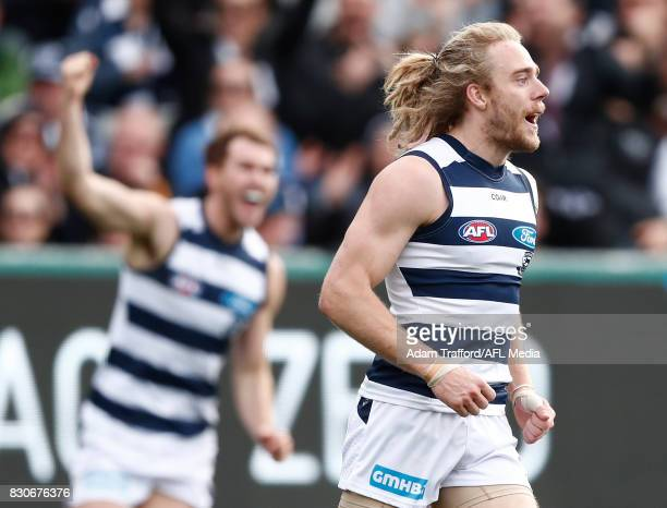 Cameron Guthrie of the Cats celebrates a goal during the 2017 AFL round 21 match between the Geelong Cats and the Richmond Tigers at Simonds Stadium...