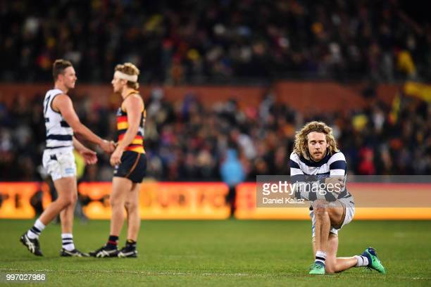 Cameron Guthrie of the Cats looks on dejected after the final siren during the round 17 AFL match between the Adelaide Crows and the Geelong Cats at...