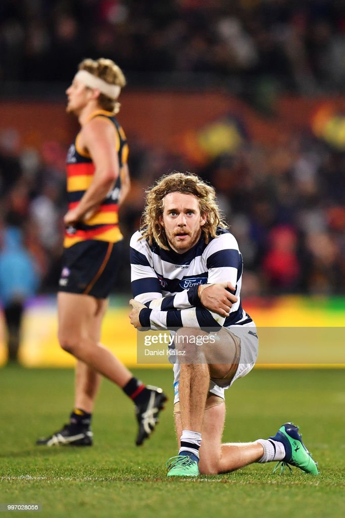 Cameron Guthrie of the Cats looks on dejected after the final siren during the round 17 AFL match between the Adelaide Crows and the Geelong Cats at Adelaide Oval on July 12, 2018 in Adelaide, Australia.