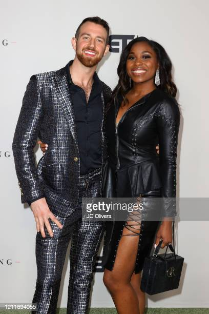 Cameron Hamilton and Lauren Speed attend the premiere of BET's Boomerang Season 2 at Paramount Studios on March 10 2020 in Los Angeles California