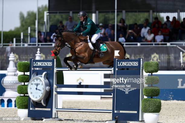 Cameron Hanley of Ireland rides Aiyetoro during The President of the UAE Show Jumping Cup at Al Forsan on February 17 2018 in Abu Dhabi United Arab...