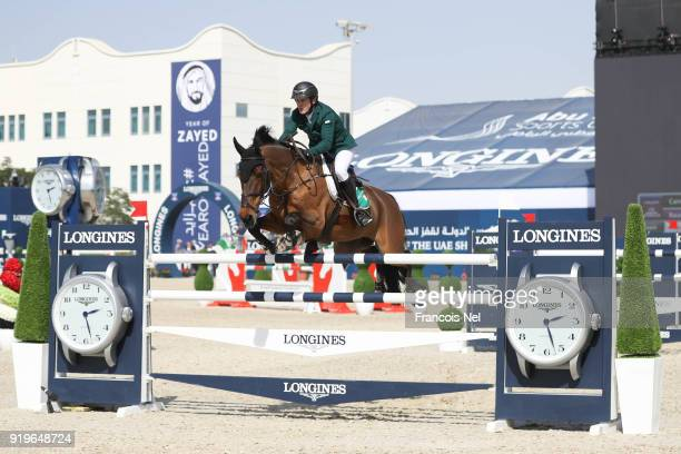 Cameron Hanley of Ireland rides Alyetoro during The President of the UAE Show Jumping Cup at Al Forsan on February 17 2018 in Abu Dhabi United Arab...