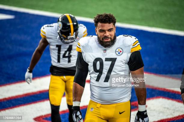 Cameron Heyward of the Pittsburgh Steelers ahead of a game against the New York Giants at MetLife Stadium on September 14, 2020 in East Rutherford,...