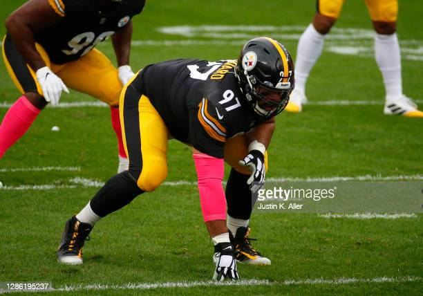 Cameron Heyward of the Pittsburgh Steelers in action against the Philadelphia Eagles on October 11, 2020 at Heinz Field in Pittsburgh, Pennsylvania.