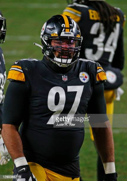 Cameron Heyward of the Pittsburgh Steelers in action against the Washington Football Team on December 8, 2020 at Heinz Field in Pittsburgh,...