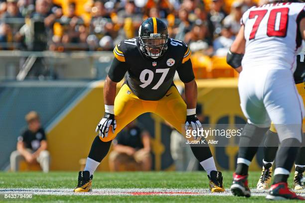 Cameron Heyward of the Pittsburgh Steelers in action during a preseason game against the Atlanta Falcons at Heinz Field on August 20, 2017 in...