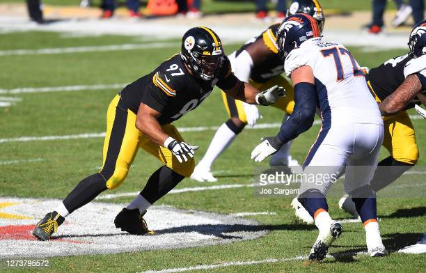 Cameron Heyward of the Pittsburgh Steelers in action during the game against the Denver Broncos at Heinz Field on September 20, 2020 in Pittsburgh,...