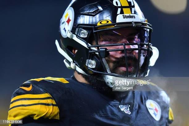 Cameron Heyward of the Pittsburgh Steelers looks on before the game against the Buffalo Bills at Heinz Field on December 15, 2019 in Pittsburgh,...