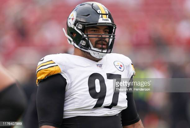 Cameron Heyward of the Pittsburgh Steelers looks on during pregame warm ups prior to the start of an NFL football game against the San Francisco...