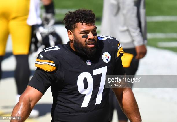 Cameron Heyward of the Pittsburgh Steelers looks on during the game against the Denver Broncos at Heinz Field on September 20, 2020 in Pittsburgh,...