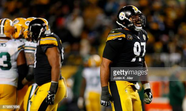 Cameron Heyward of the Pittsburgh Steelers reacts after a sack of Brett Hundley of the Green Bay Packers in the second half during the game at Heinz...