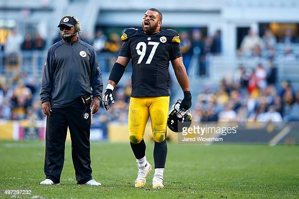 Cameron Heyward of the Pittsburgh Steelers reacts after Head Coach Mike Tomlin challenges a ball spot during the 4th quarter of the game at Heinz...