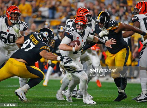 Cameron Heyward of the Pittsburgh Steelers sacks Andy Dalton of the Cincinnati Bengals in the third quarter on September 30, 2019 at Heinz Field in...