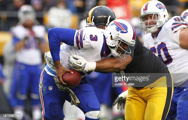 Cameron Heyward of the Pittsburgh Steelers sacks EJ Manuel of the Buffalo Bills during the game on November 10 2013 at Heinz Field in Pittsburgh...