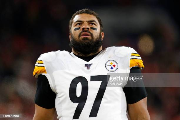 Cameron Heyward of the Pittsburgh Steelers stands on the sideline prior to the start of the game against the Cleveland Browns at FirstEnergy Stadium...