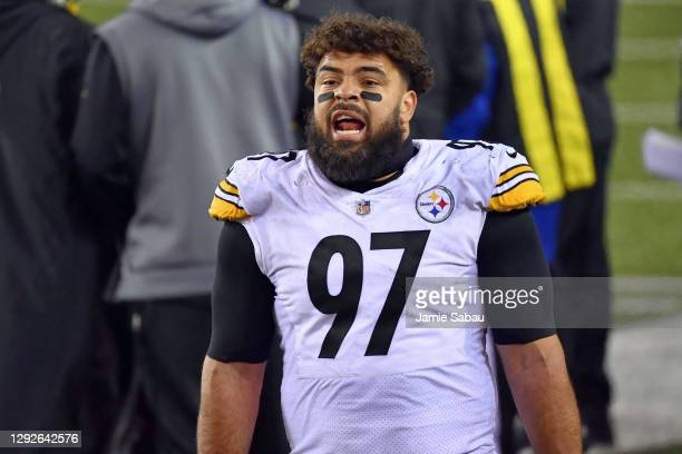 Cameron Heyward of the Pittsburgh Steelers takes a breather on the sideline during a game against the Cincinnati Bengals at Paul Brown Stadium on...