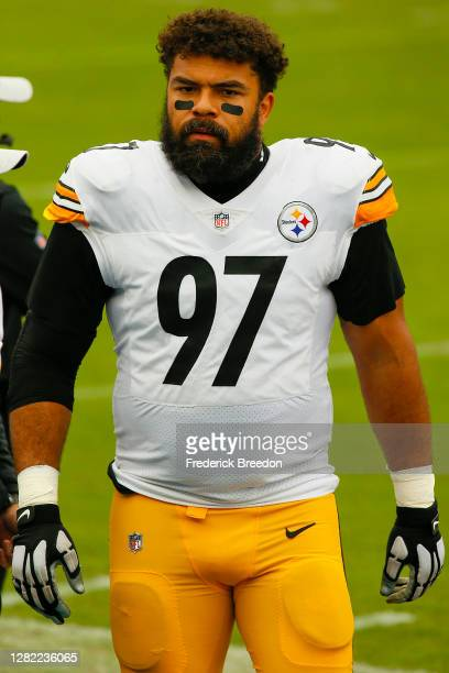 Cameron Heyward of the Pittsburgh Steelers watches from the sideline during a game against the Tennessee Titans at Nissan Stadium on October 25, 2020...
