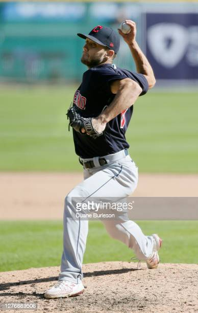 Cameron Hill of the Cleveland Indians pitches against the Detroit Tigers at Comerica Park on September 20 in Detroit Michigan