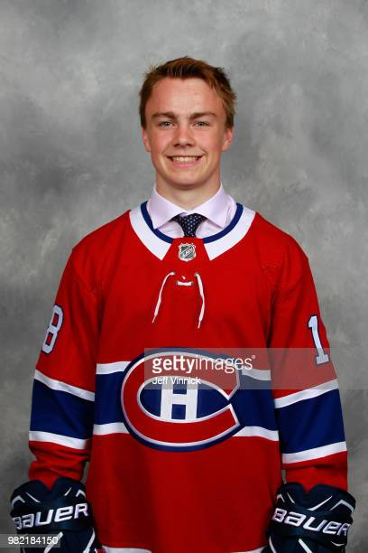 Cameron Hillis poses for a portrait after being selected 66th overall by the Montreal Canadiens during the 2018 NHL Draft at American Airlines Center...