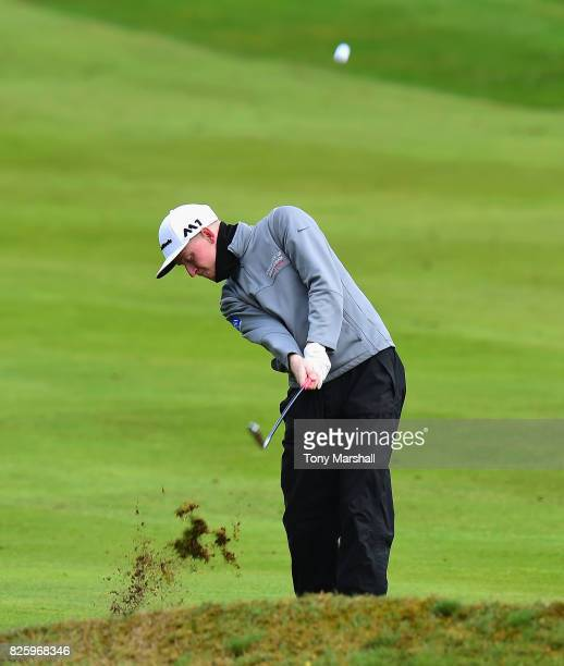 Cameron Hoggarth plays his second shot on the 1st fairway during Day Two of the Galvin Green PGA Assistants' Championship at Coxmoor Golf Club on...