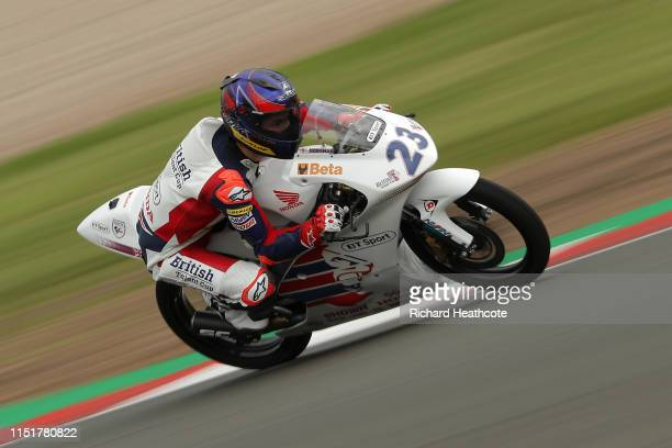 Cameron Horsman in action during the British Talent Cup at Donington Park on May 26, 2019 in Castle Donington, England.