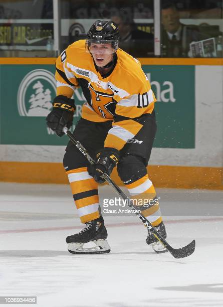 Brendan Bonello of the Kingston Frontenacs has a shot go wide during action against the Peterborough Petes in an OHL game at the Peterborough...