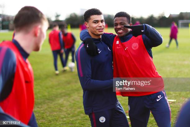 Cameron Humphreys and Javairo Dilrosun at Manchester City Football Academy on January 18 2018 in Manchester England