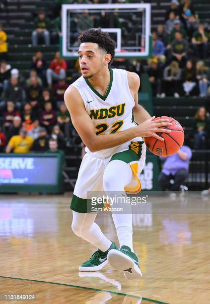 Cameron Hunter of the North Dakota State Bison looks to pass against the Omaha Mavericks during their game at Scheels Center on February 23 2019 in...