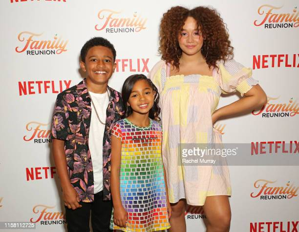 Cameron J Wright Jordyn Raya James and Talia Jackson attend the Netflix Family Reunion LA Screening at NETFLIX on June 24 2019 in Los Angeles...