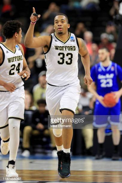 Cameron Jackson of the Wofford Terriers reacts in the second half against the Seton Hall Pirates during the first round of the 2019 NCAA Men's...