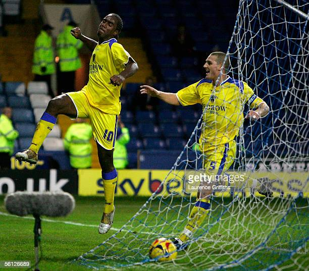 Cameron Jerome of Cardiff celebrates the second goal with Darren Purse during the Coca Cola Championship match between Sheffield Wednesday and...