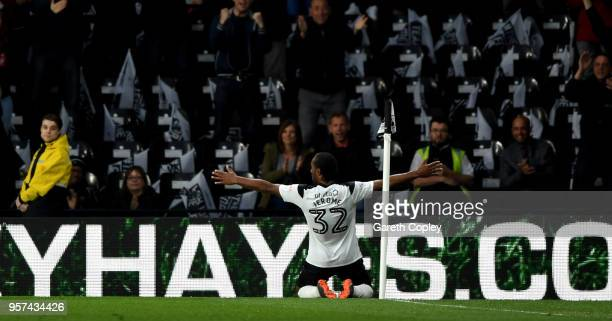 Cameron Jerome of Derby celebrates scoring the opoening goal during the Sky Bet Championship Play Off Semi FinalFirst Leg match between Derby County...