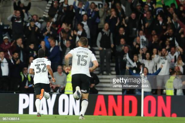 Cameron Jerome of Derby County celebrates after scoring a goal to make it 10 during the Sky Bet Championship Play Off Semi FinalFirst Leg match...