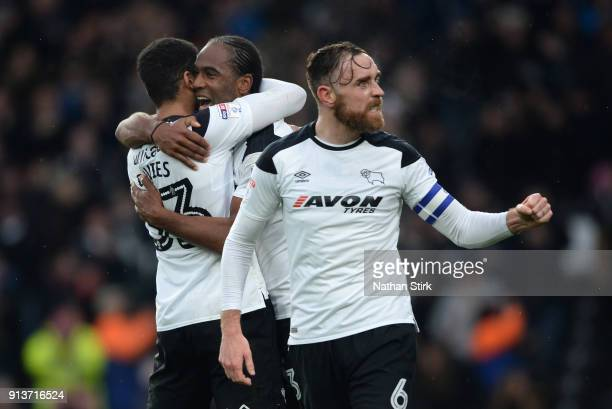 Cameron Jerome of Derby County celebrates with his team mates Curtis Davies and Richard Keogh after he scores the second goal during the Sky Bet...