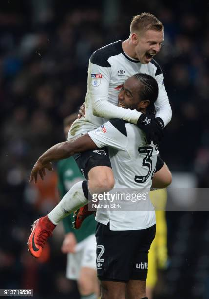 Cameron Jerome of Derby County celebrates with Matej Vydra after he scores the second goal during the Sky Bet Championship match between Derby County...