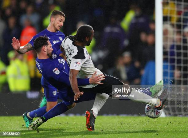 Cameron Jerome of Derby County scores his sides first goal during the Sky Bet Championship match between Derby County and Cardiff City at iPro...