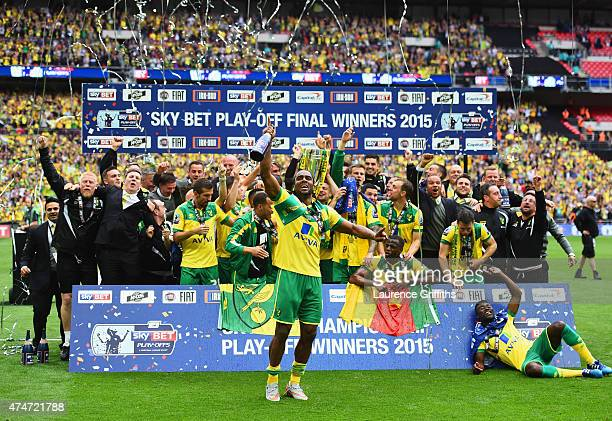 Cameron Jerome of Norwich City celebrates with team mates after the Sky Bet Championship Playoff Final between Middlesbrough and Norwich City at...
