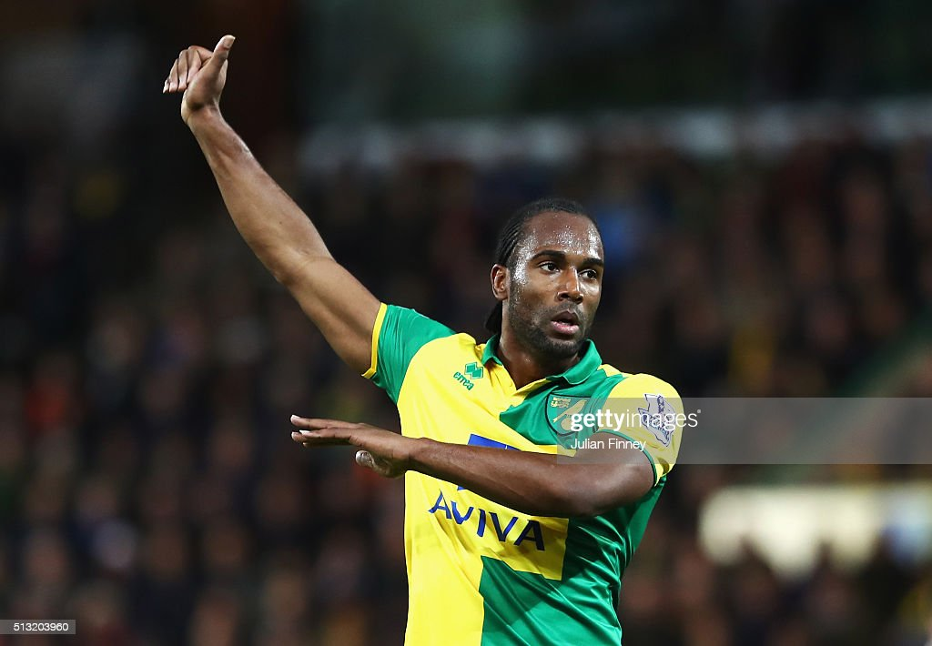 Cameron Jerome of Norwich City gestures during the Barclays Premier League match between Norwich City and Chelsea at Carrow Road on March 1, 2016 in Norwich, England.