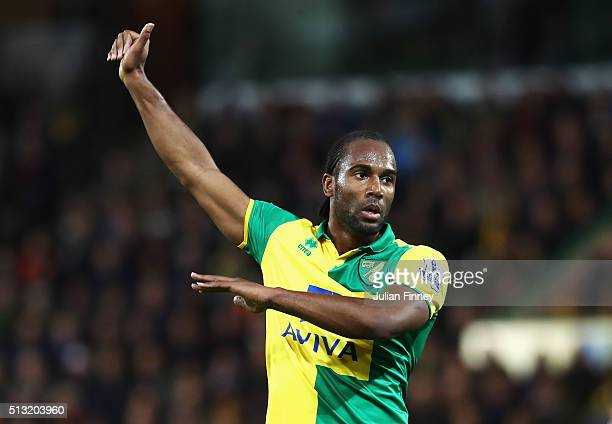 Cameron Jerome of Norwich City gestures during the Barclays Premier League match between Norwich City and Chelsea at Carrow Road on March 1 2016 in...