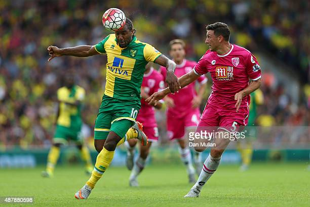 Cameron Jerome of Norwich City takes on Tommy Elphick of Bournemouth during the Barclays Premier League match between Norwich City and AFC...