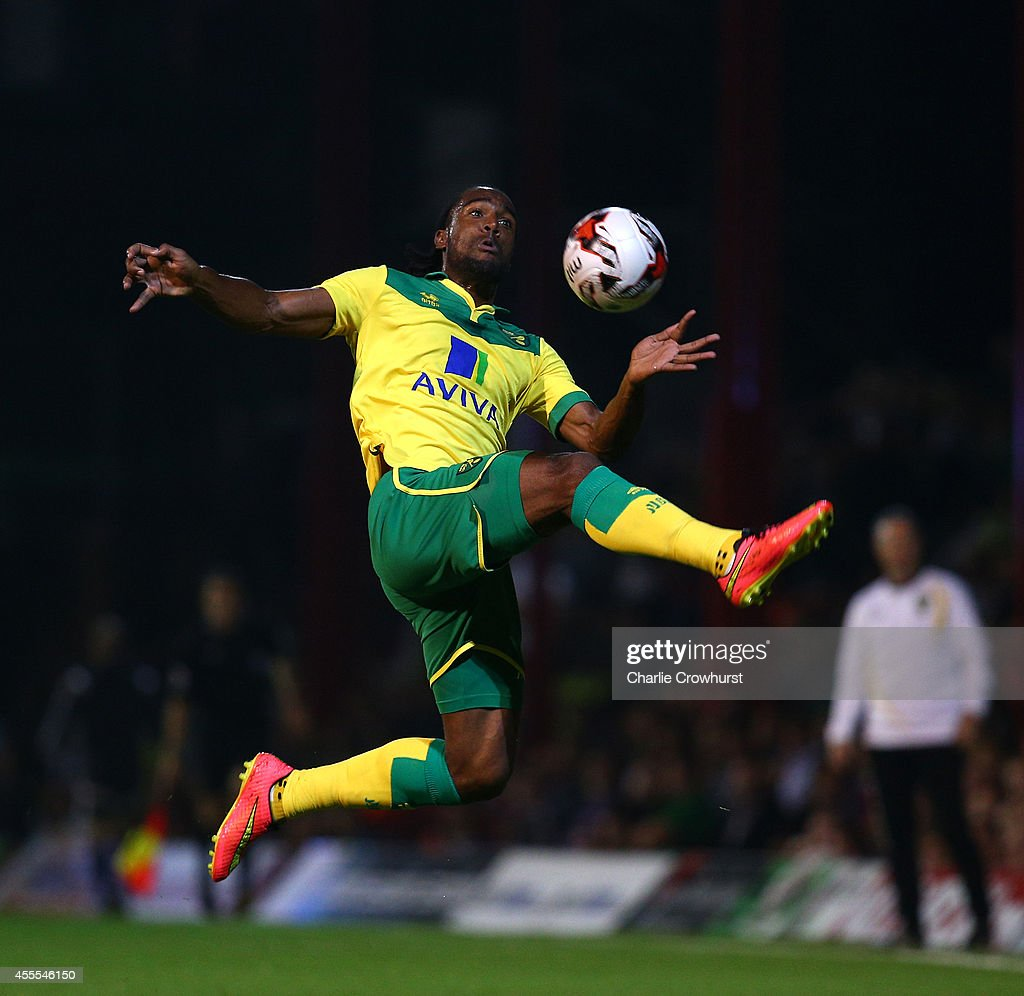 Cameron Jerome of Norwich looks to bring the ball under control during the Sky Bet Championship match between Brentford and Norwich City at Griffin Park on September 16, 2014 in Brentford, England.