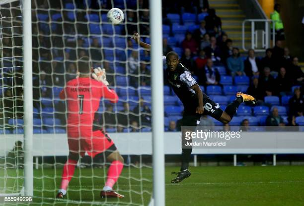 Cameron Jerome of Norwich scores his sides second goal during the Sky Bet Championship match between Reading and Norwich City at Madejski Stadium on...
