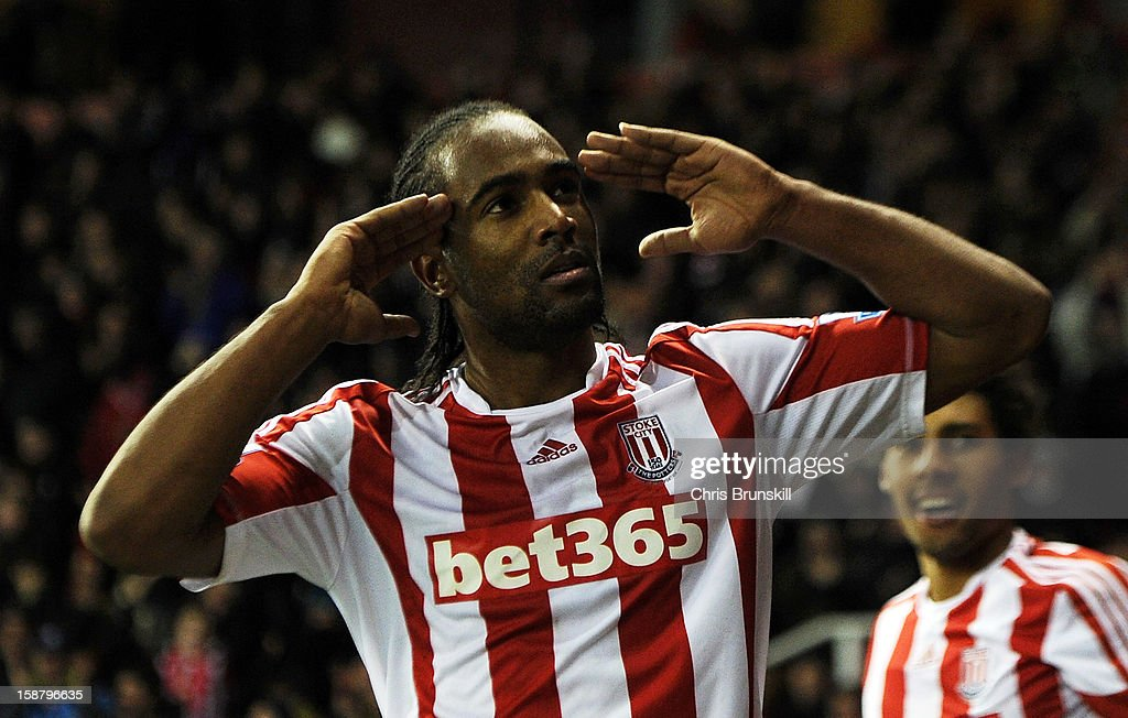 Cameron Jerome of Stoke City celebrates scoring his side's third goal during the Barclays Premier League match between Stoke City and Southampton at Britannia Stadium on December 29, 2012 in Stoke on Trent, England.