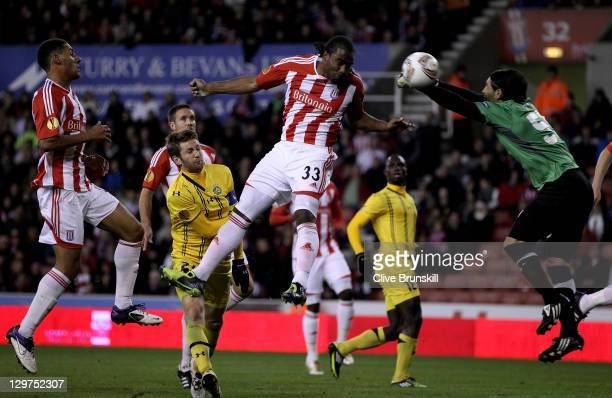 Cameron Jerome of Stoke City scores his team's second goal during the UEFA Europa League Group E match between Stoke City and Maccabi TelAviv FC at...