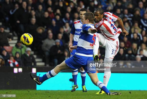 Cameron Jerome of Stoke City scores his team's second goal during the Barclays Premier League match between Stoke City and Reading at the Britannia...
