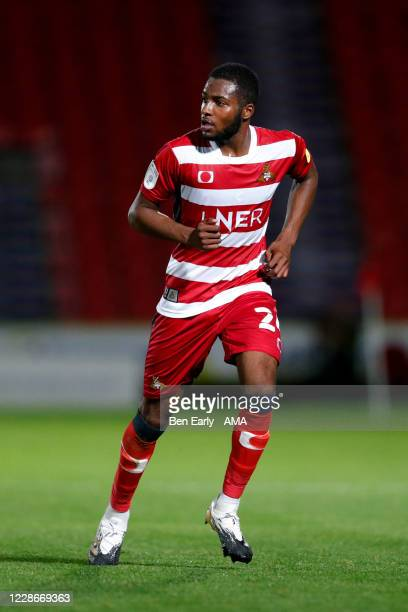 Cameron John of Doncaster Rovers during the EFL Trophy match between Doncaster Rovers v Bradford City at Keepmoat Stadium on September 8 2020 in...